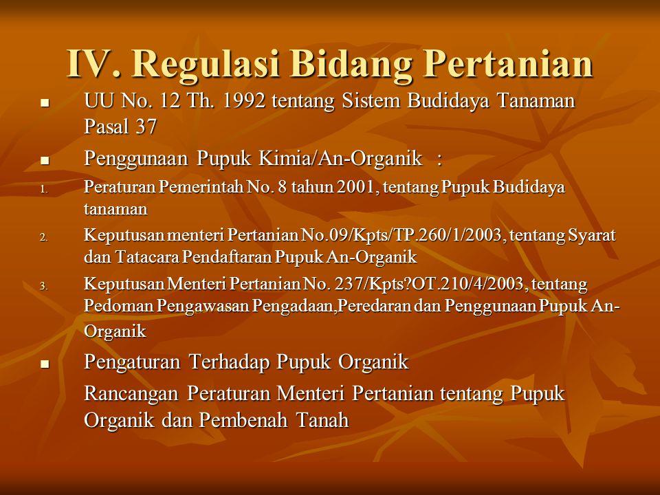 IV. Regulasi Bidang Pertanian
