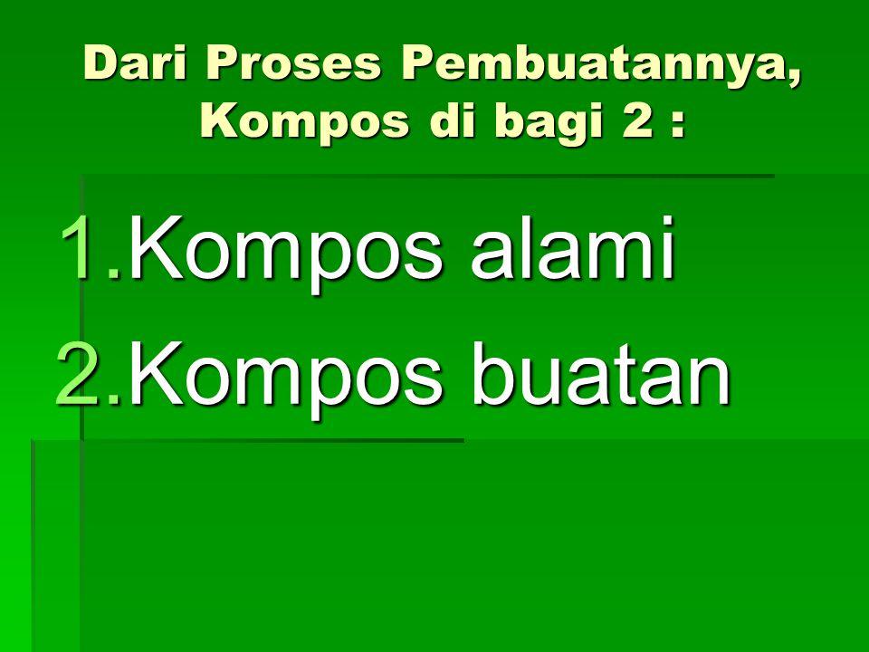 Dari Proses Pembuatannya, Kompos di bagi 2 :