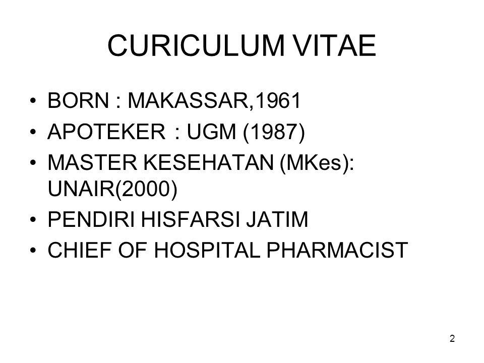CURICULUM VITAE BORN : MAKASSAR,1961 APOTEKER : UGM (1987)