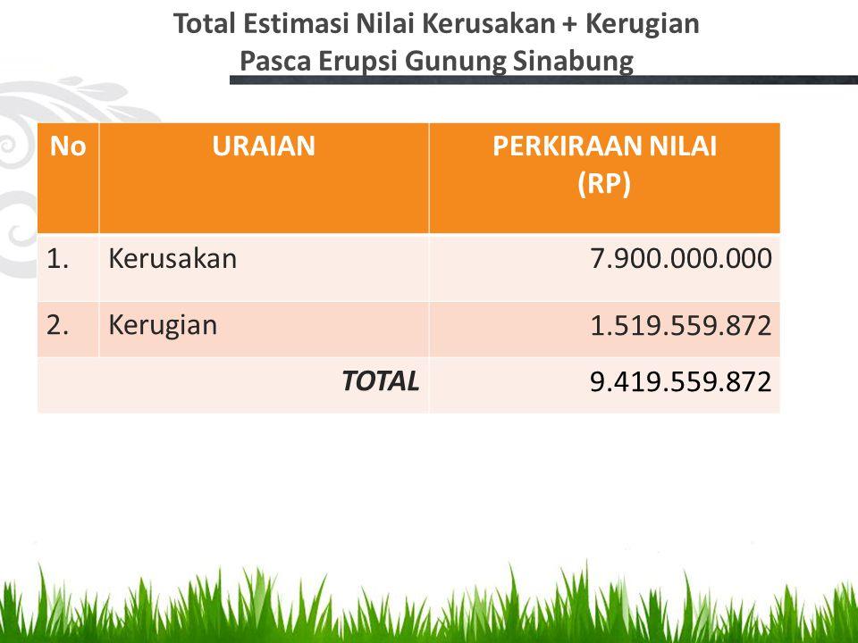 Total Estimasi Nilai Kerusakan + Kerugian Pasca Erupsi Gunung Sinabung