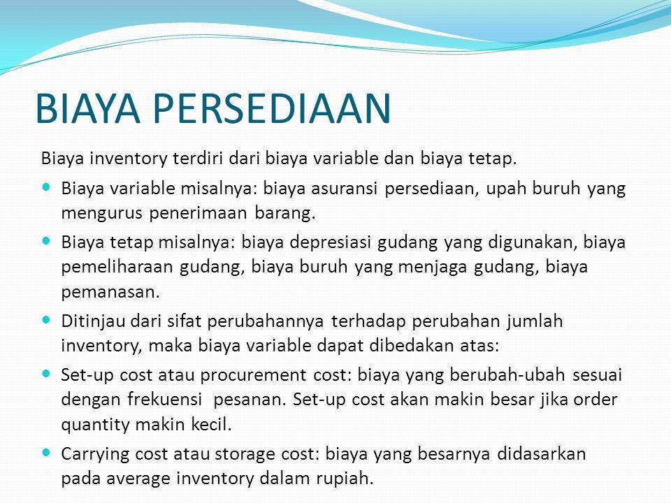 BIAYA PERSEDIAAN Biaya inventory terdiri dari biaya variable dan biaya tetap.