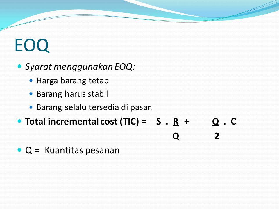 EOQ Syarat menggunakan EOQ: