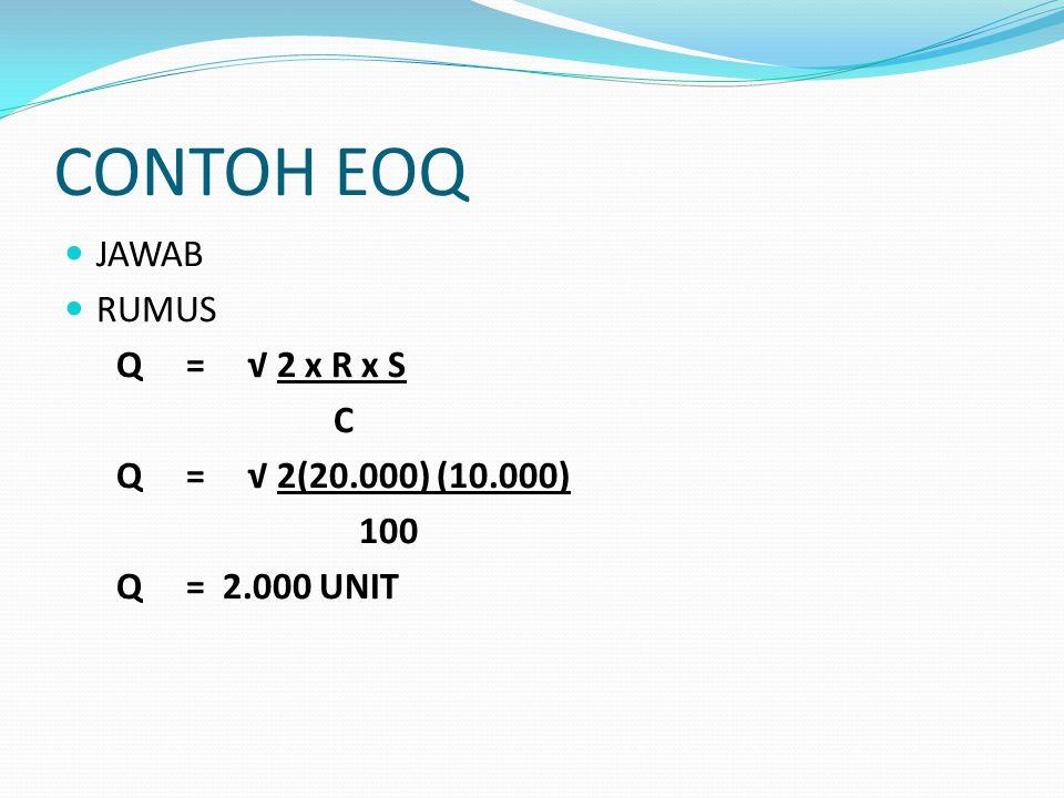 CONTOH EOQ JAWAB RUMUS Q = √ 2 x R x S C Q = √ 2(20.000) (10.000) 100