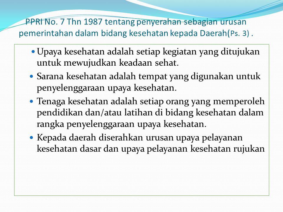 PPRI No. 7 Thn 1987 tentang penyerahan sebagian urusan pemerintahan dalam bidang kesehatan kepada Daerah(Ps. 3) .