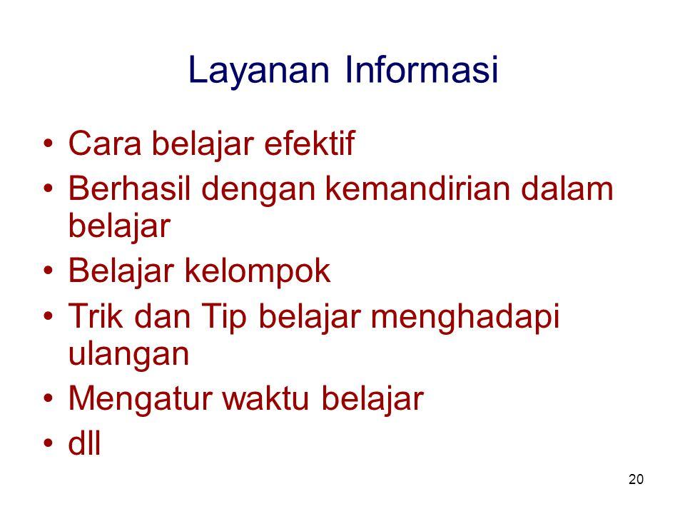 Layanan Informasi Cara belajar efektif
