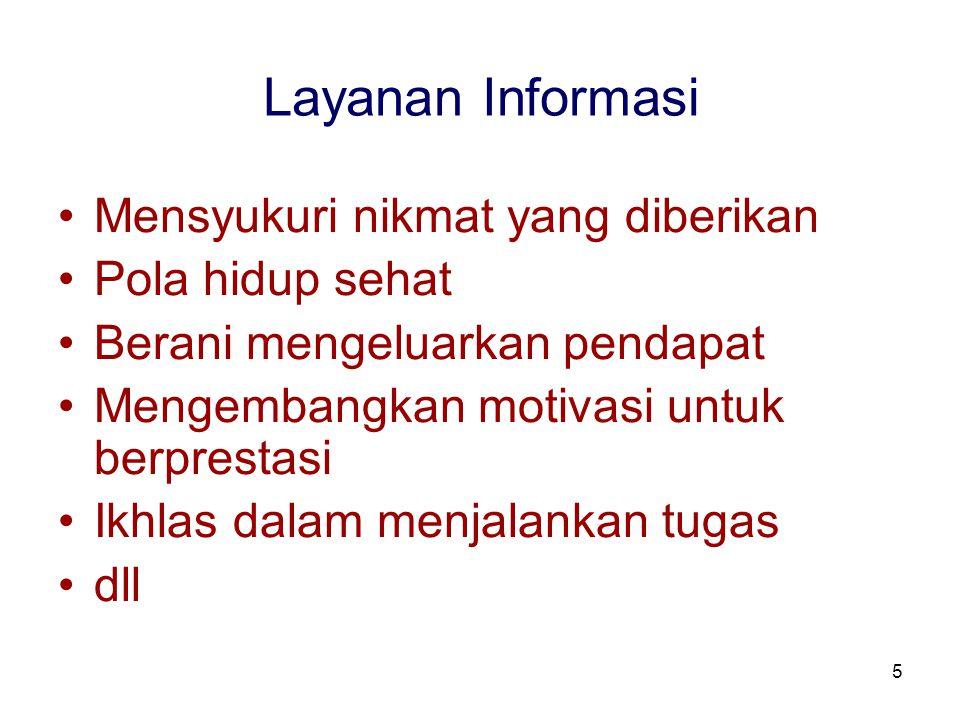 Layanan Informasi Mensyukuri nikmat yang diberikan Pola hidup sehat