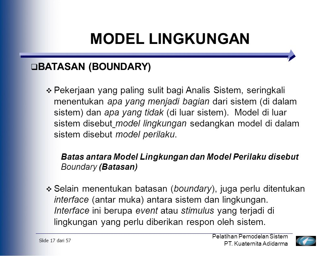 MODEL LINGKUNGAN BATASAN (BOUNDARY)