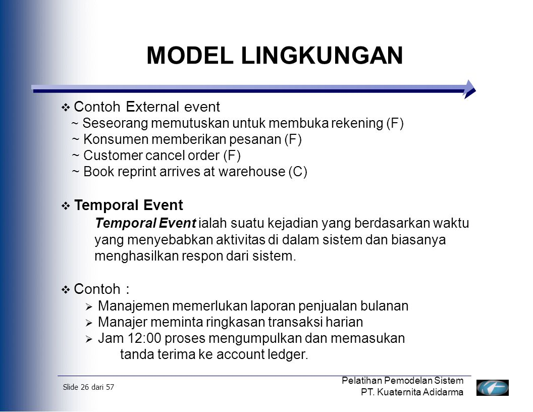 MODEL LINGKUNGAN Contoh External event Temporal Event