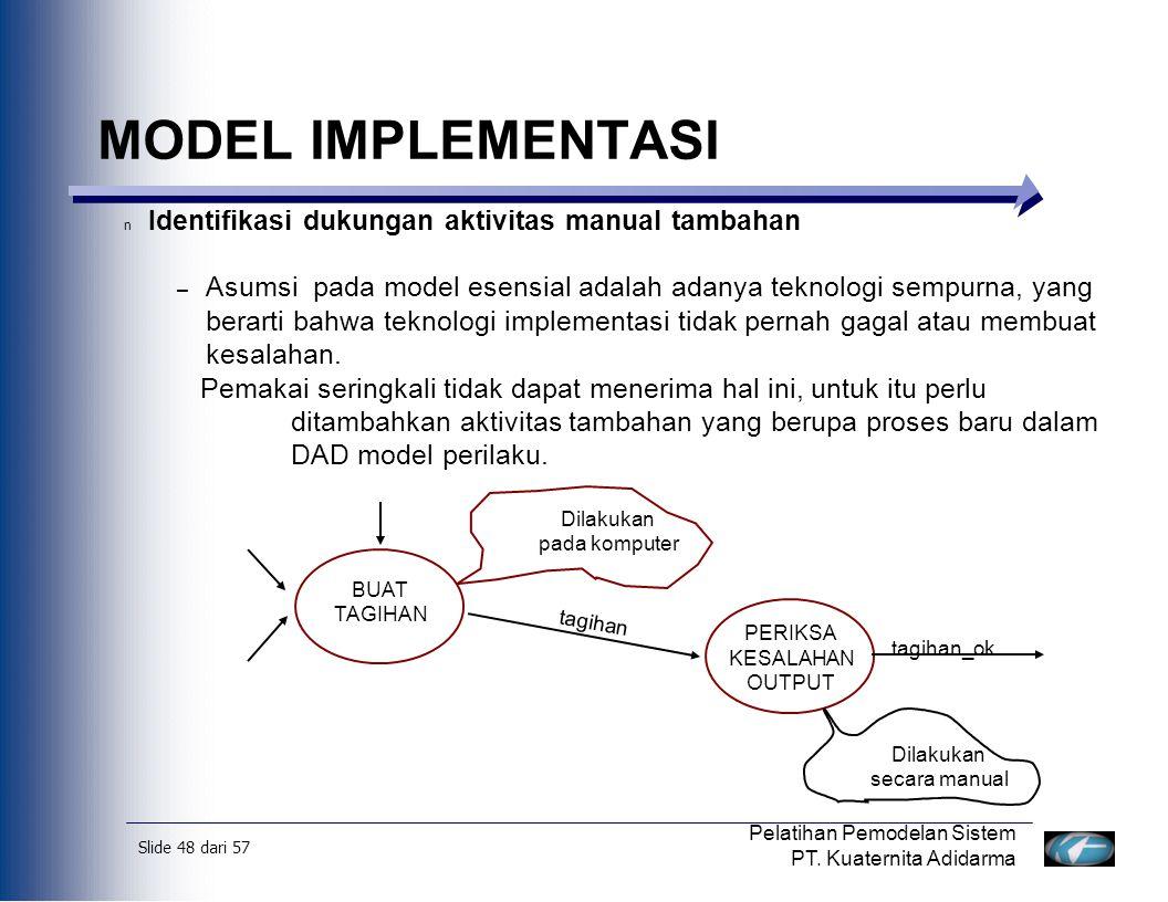 MODEL IMPLEMENTASI Identifikasi dukungan aktivitas manual tambahan
