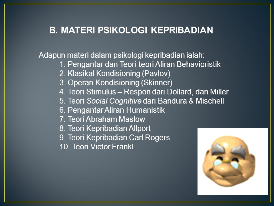 B. MATERI PSIKOLOGI KEPRIBADIAN