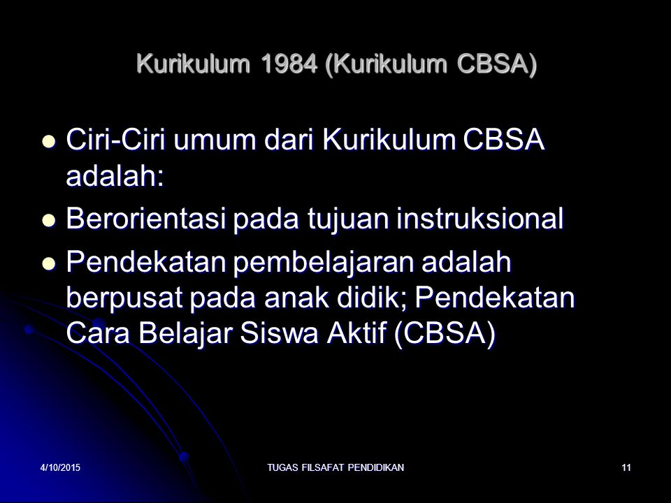 Kurikulum 1984 (Kurikulum CBSA)