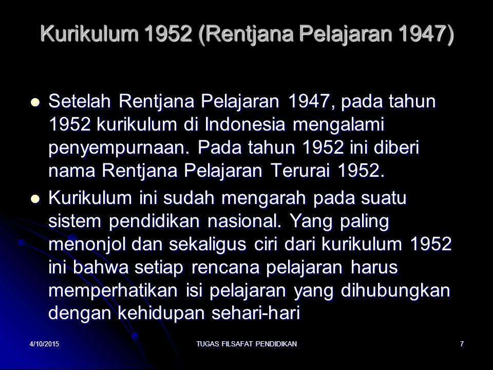 Kurikulum 1952 (Rentjana Pelajaran 1947)