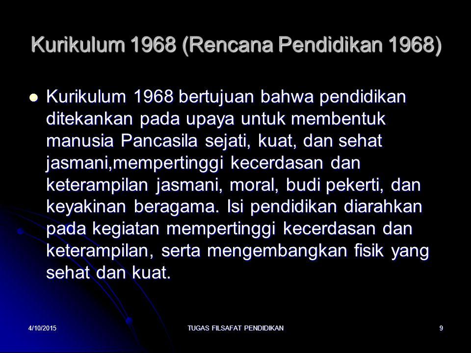 Kurikulum 1968 (Rencana Pendidikan 1968)