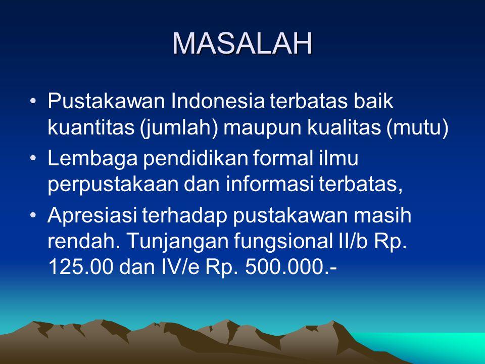 MASALAH Pustakawan Indonesia terbatas baik kuantitas (jumlah) maupun kualitas (mutu)
