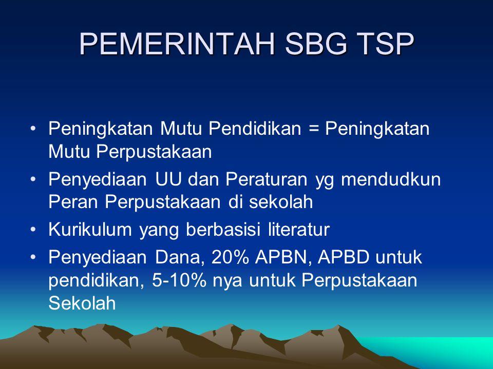 PEMERINTAH SBG TSP Peningkatan Mutu Pendidikan = Peningkatan Mutu Perpustakaan.