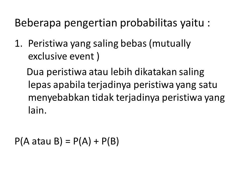 Beberapa pengertian probabilitas yaitu :