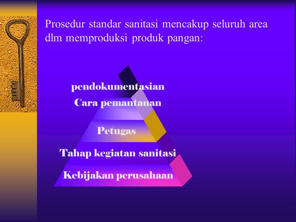 Prosedur standar sanitasi mencakup seluruh area dlm memproduksi produk pangan: