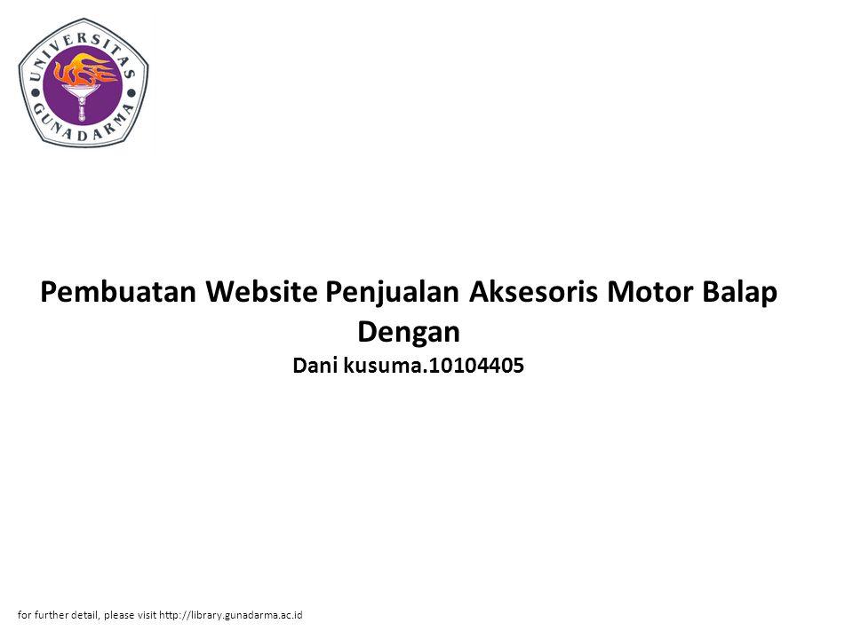 Pembuatan Website Penjualan Aksesoris Motor Balap Dengan Dani kusuma