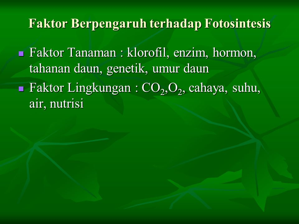 Faktor Berpengaruh terhadap Fotosintesis
