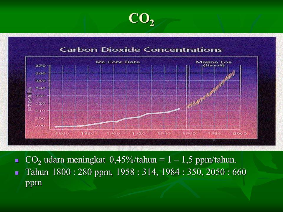 CO2 CO2 udara meningkat 0,45%/tahun = 1 – 1,5 ppm/tahun.
