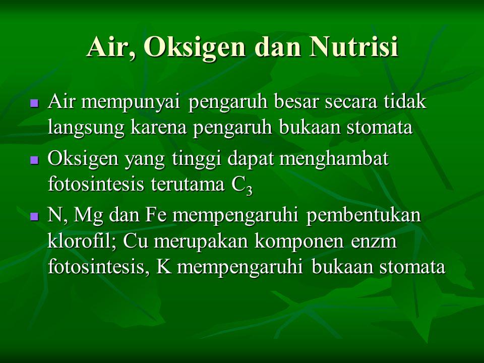 Air, Oksigen dan Nutrisi