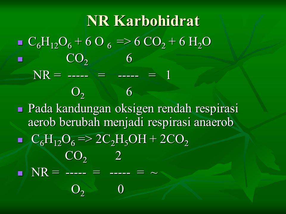 NR Karbohidrat C6H12O6 + 6 O 6 => 6 CO2 + 6 H2O CO2 6