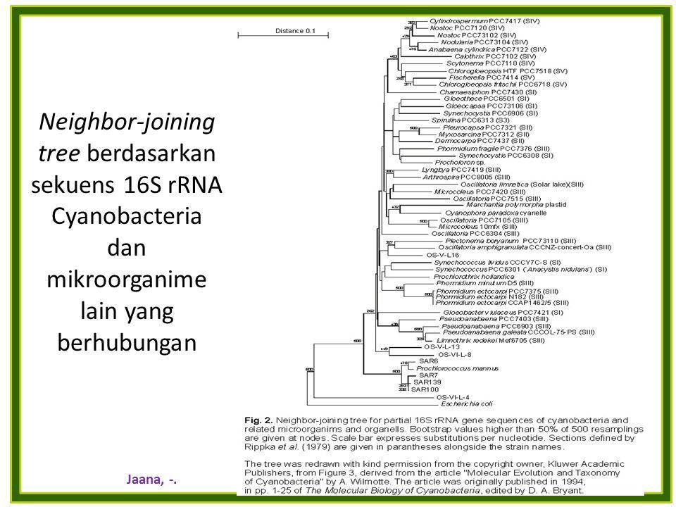 Neighbor-joining tree berdasarkan sekuens 16S rRNA Cyanobacteria dan mikroorganime lain yang berhubungan