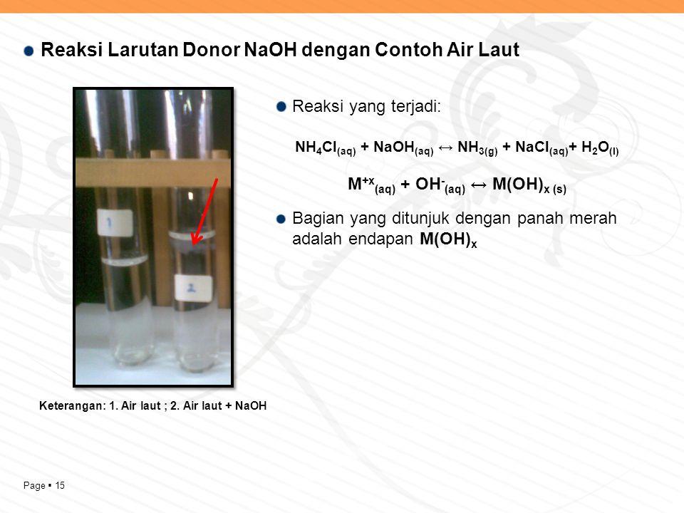 Reaksi Larutan Donor NaOH dengan Contoh Air Laut