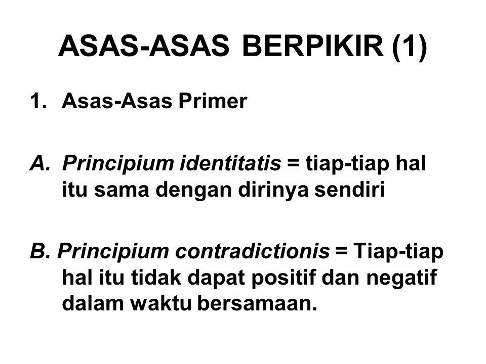 ASAS-ASAS BERPIKIR (1) Asas-Asas Primer