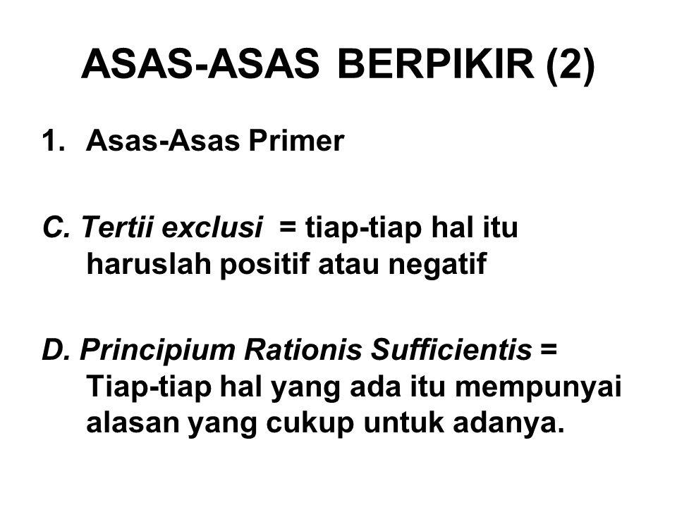 ASAS-ASAS BERPIKIR (2) Asas-Asas Primer