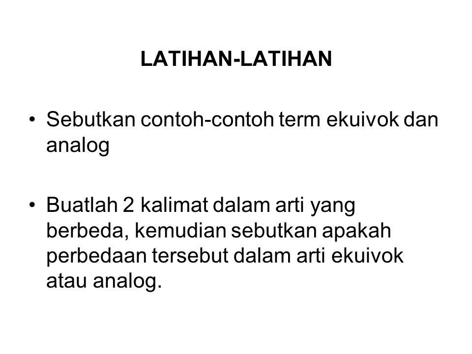 LATIHAN-LATIHAN Sebutkan contoh-contoh term ekuivok dan analog.
