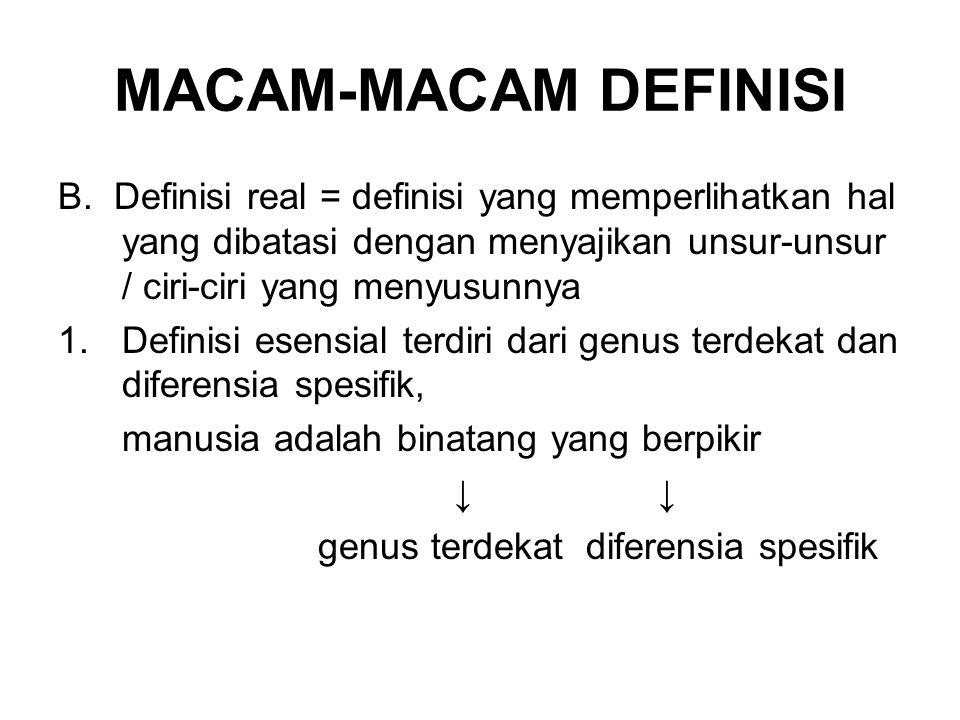 MACAM-MACAM DEFINISI B. Definisi real = definisi yang memperlihatkan hal yang dibatasi dengan menyajikan unsur-unsur / ciri-ciri yang menyusunnya.