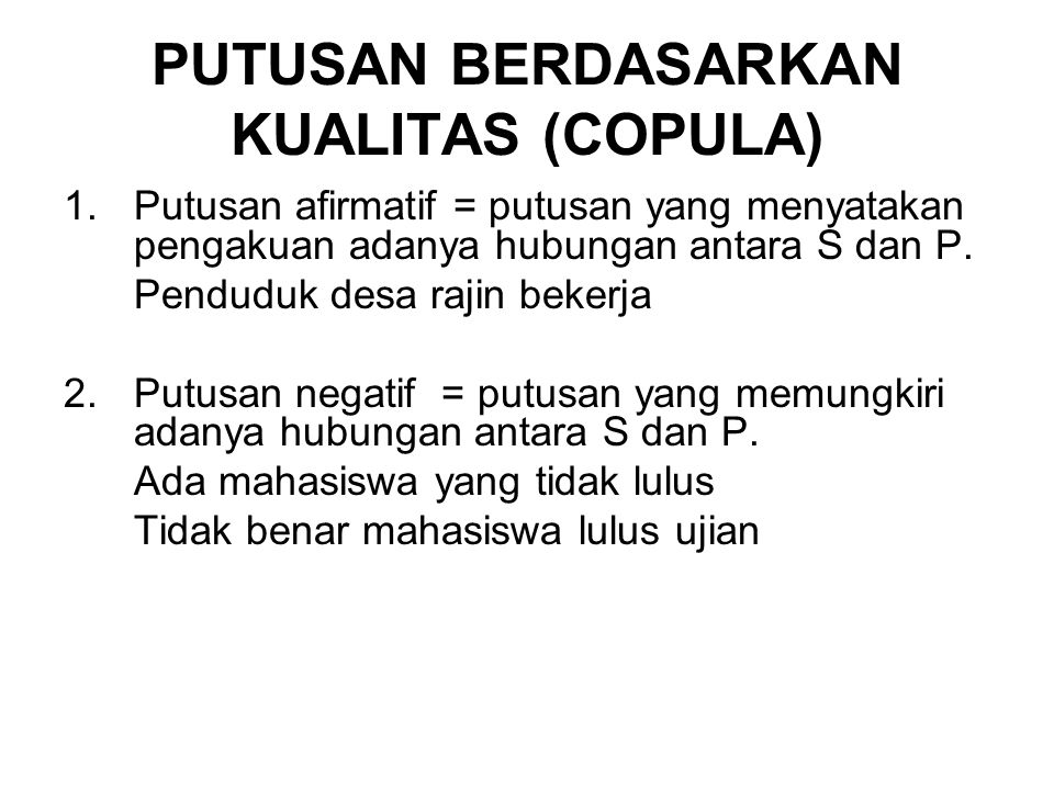 PUTUSAN BERDASARKAN KUALITAS (COPULA)