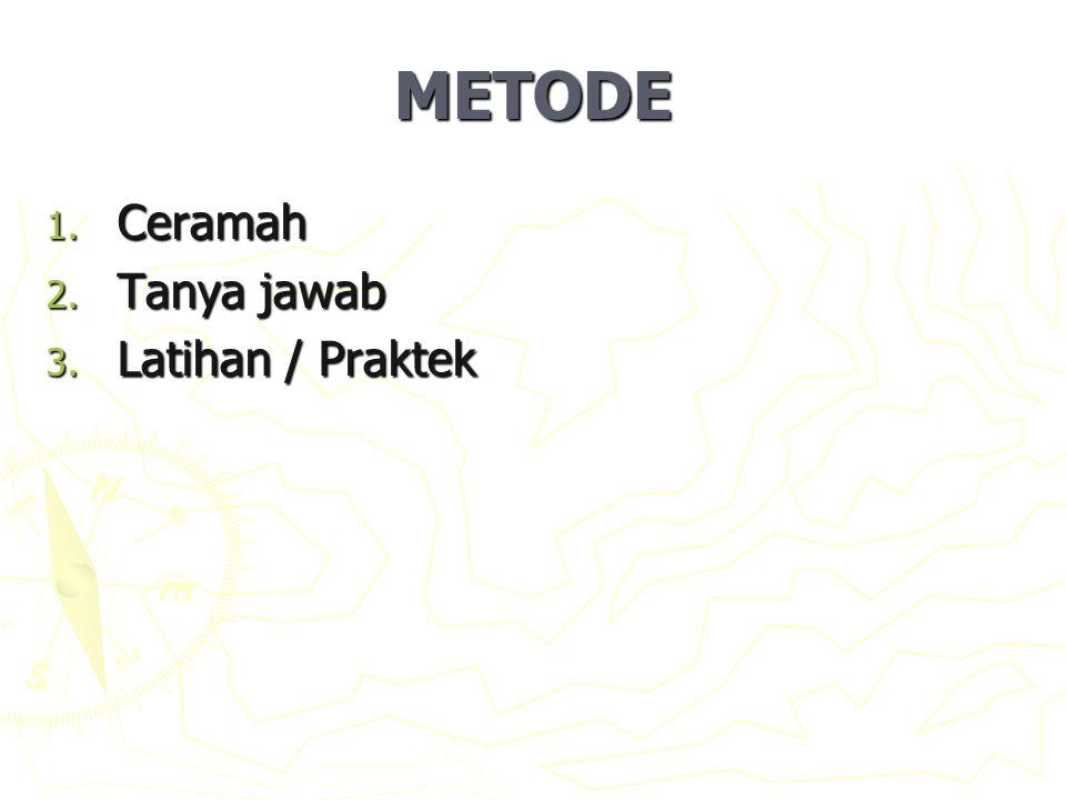 METODE Ceramah Tanya jawab Latihan / Praktek