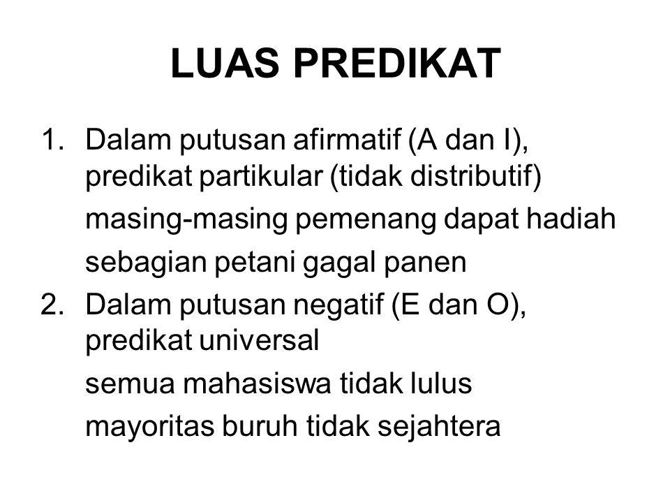 LUAS PREDIKAT Dalam putusan afirmatif (A dan I), predikat partikular (tidak distributif) masing-masing pemenang dapat hadiah.