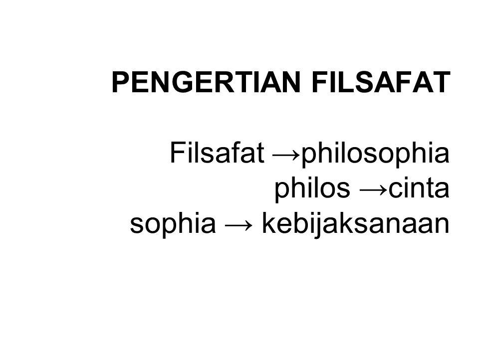PENGERTIAN FILSAFAT Filsafat →philosophia philos →cinta sophia → kebijaksanaan