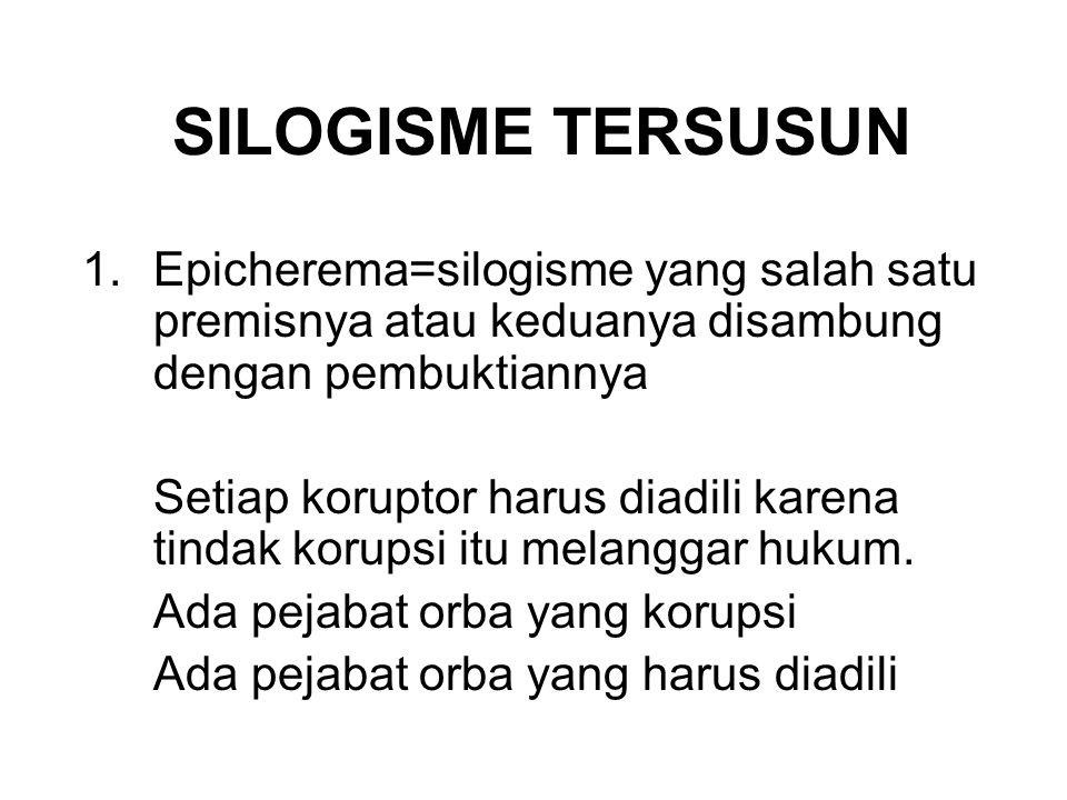 SILOGISME TERSUSUN Epicherema=silogisme yang salah satu premisnya atau keduanya disambung dengan pembuktiannya.