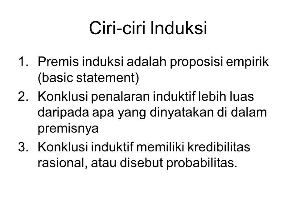 Ciri-ciri Induksi Premis induksi adalah proposisi empirik (basic statement)