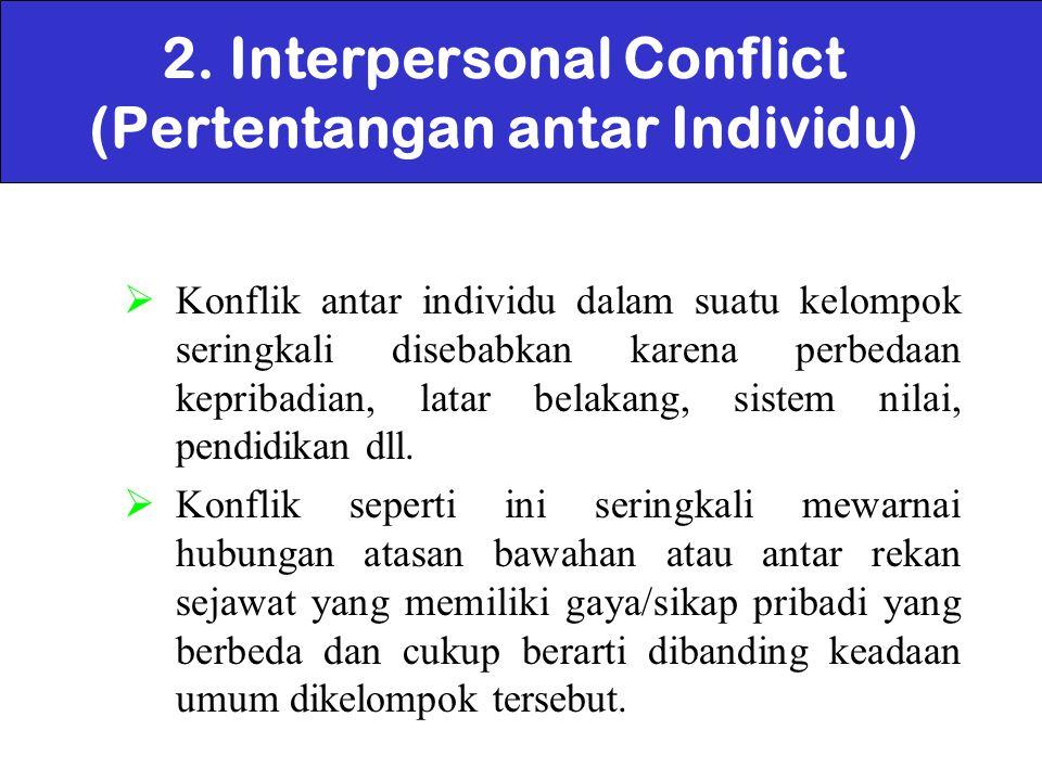 2. Interpersonal Conflict (Pertentangan antar Individu)
