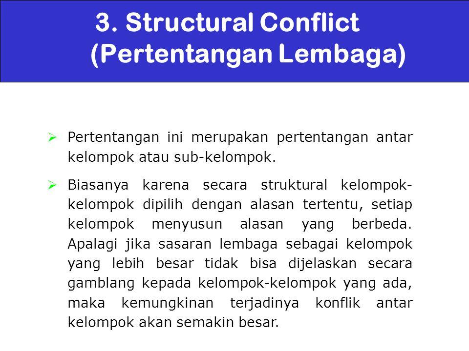 3. Structural Conflict (Pertentangan Lembaga)