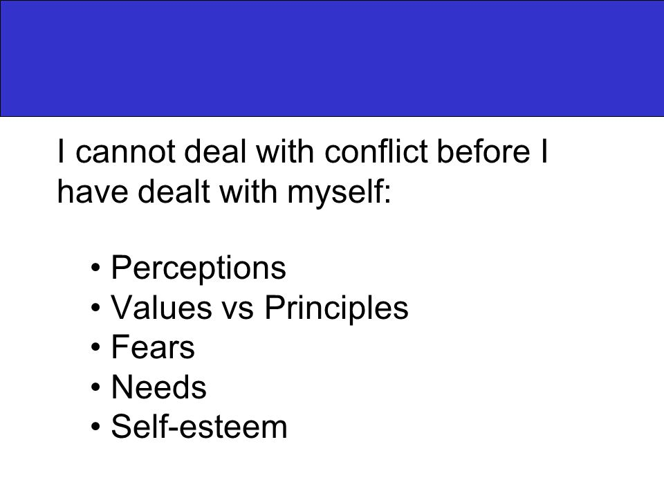 I cannot deal with conflict before I have dealt with myself: