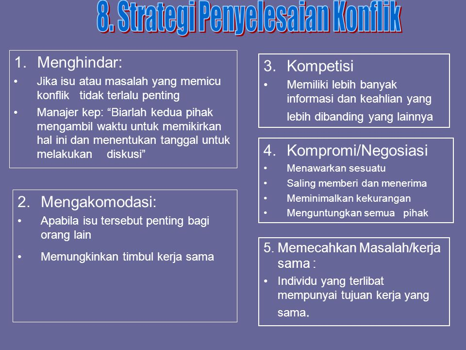 8. Strategi Penyelesaian Konflik