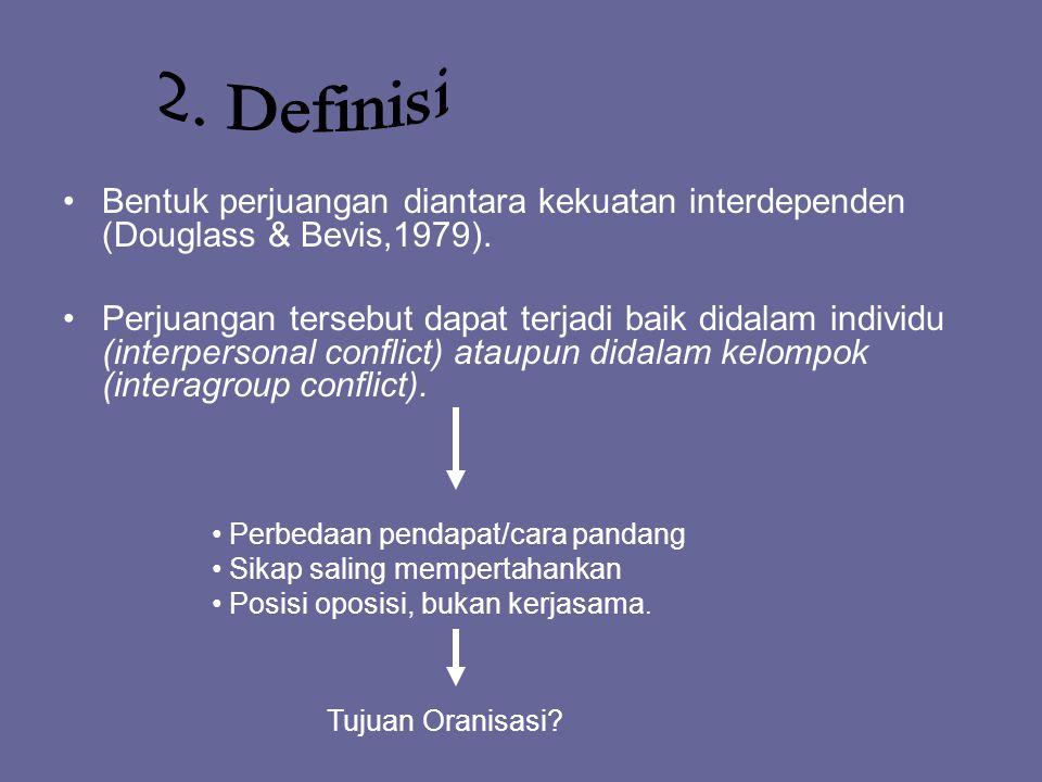 2. Definisi Bentuk perjuangan diantara kekuatan interdependen (Douglass & Bevis,1979).