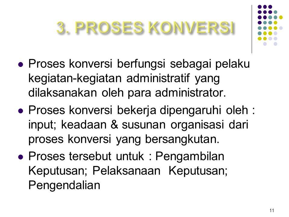 3. PROSES KONVERSI Proses konversi berfungsi sebagai pelaku kegiatan-kegiatan administratif yang dilaksanakan oleh para administrator.