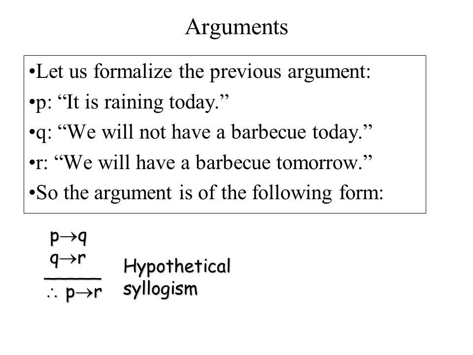 Arguments Let us formalize the previous argument: