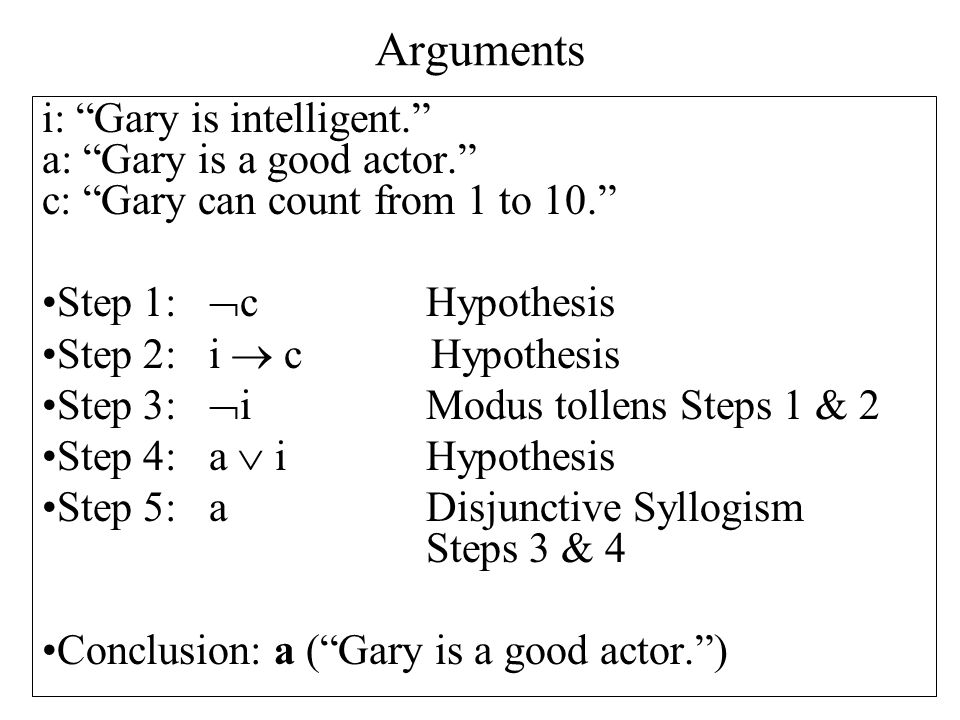 Arguments i: Gary is intelligent. a: Gary is a good actor. c: Gary can count from 1 to 10. Step 1: c Hypothesis.