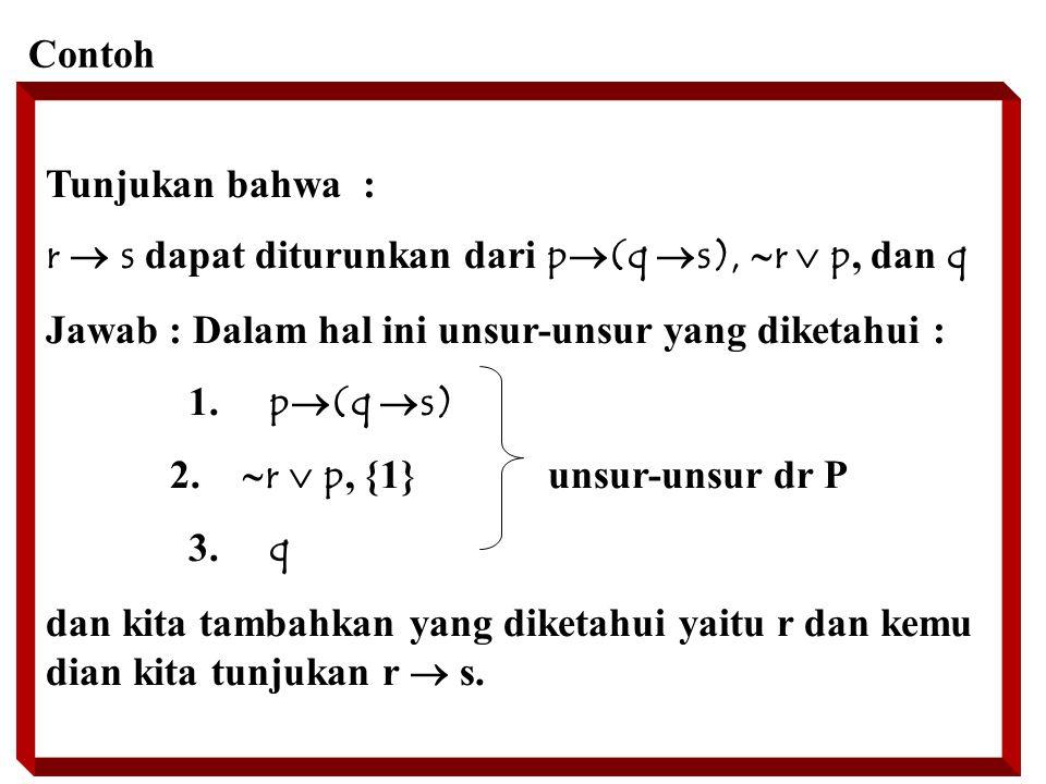 Contoh Tunjukan bahwa : r  s dapat diturunkan dari p(q s), r  p, dan q. Jawab : Dalam hal ini unsur-unsur yang diketahui :