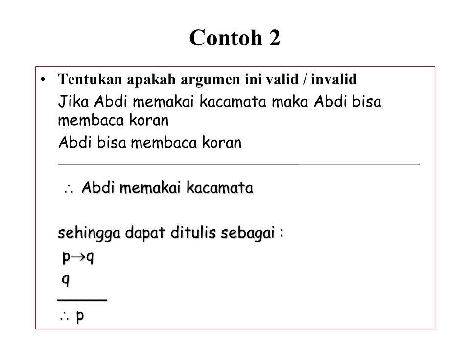 Contoh 2 Tentukan apakah argumen ini valid / invalid