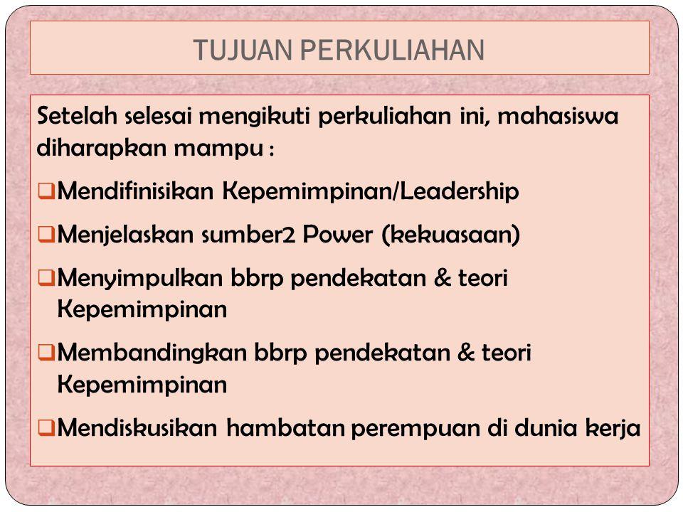 TUJUAN PERKULIAHAN Setelah selesai mengikuti perkuliahan ini, mahasiswa diharapkan mampu : Mendifinisikan Kepemimpinan/Leadership.