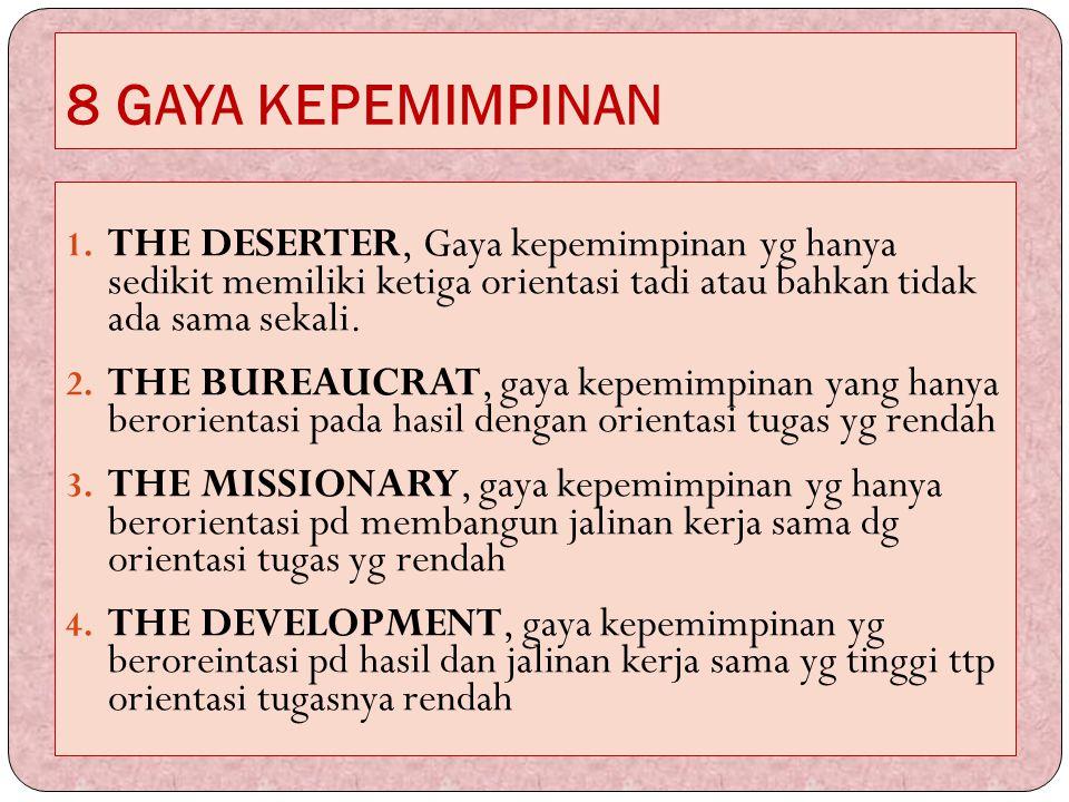 8 GAYA KEPEMIMPINAN THE DESERTER, Gaya kepemimpinan yg hanya sedikit memiliki ketiga orientasi tadi atau bahkan tidak ada sama sekali.